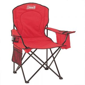 Coleman Quad Chair with Cooler Red